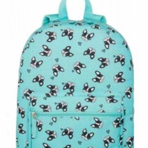Teal Bulldog Polka dot Backpack
